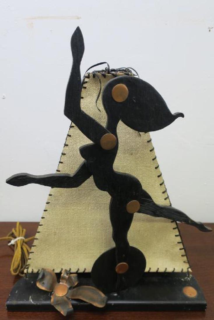 Novelty Pair of Handmade Dancing Damsel Wooden Lamps: - 2