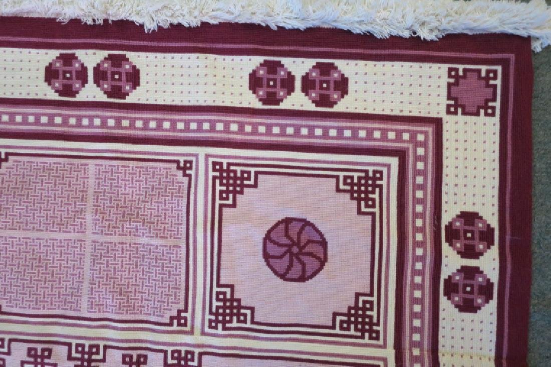 Artistic Asian Inspired Handmade Needlepoint Rug: - 3