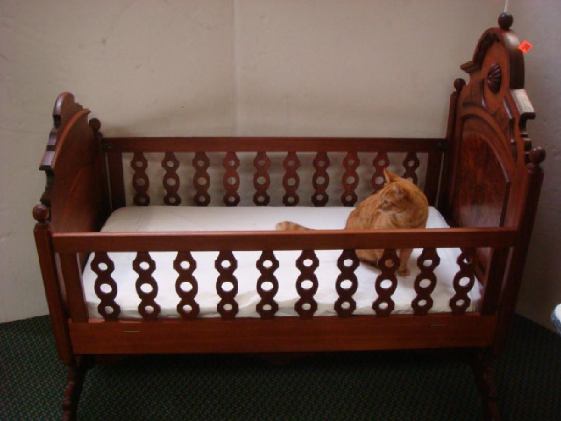Burl Walnut Renaissance Revival Rocking Cradle: