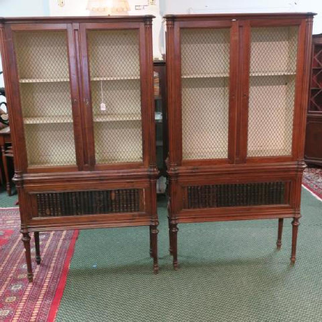 Pair Sheraton 2 Door Tambour Drawer Walnut Cabinets: