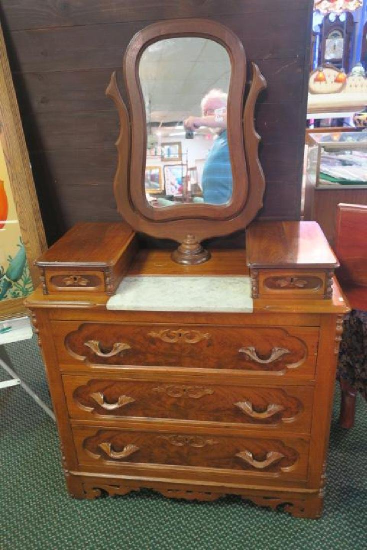 Cherry 19th C. Marble Drop Center Chest with Mirror: - 4