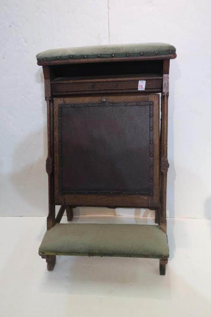 Vintage Oak Padded Kneeler Prie-Dieu: - 2