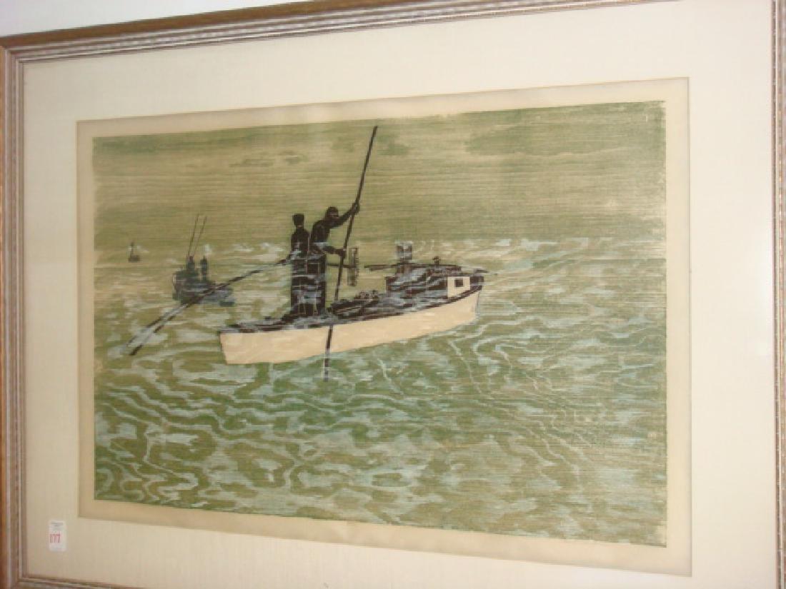 PAUL SHAUB Hand colored Woodcut Print: