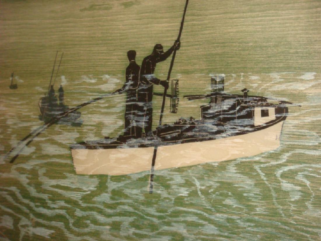 PAUL SHAUB Hand colored Woodcut Print: - 2