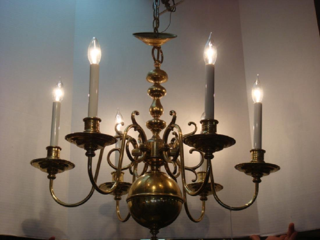 Six Arm Williamsburg Style Brass Chandelier: