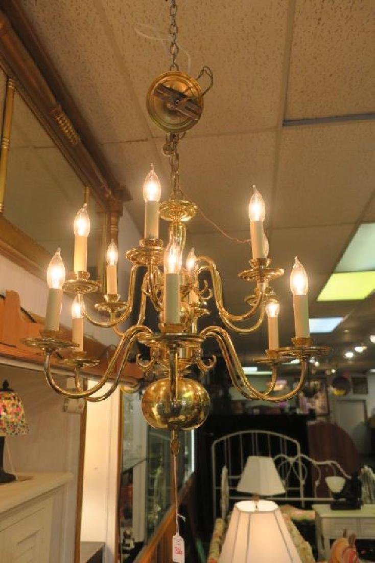 Two Tier Williamsburg Style 12 Light Chandelier: - 3
