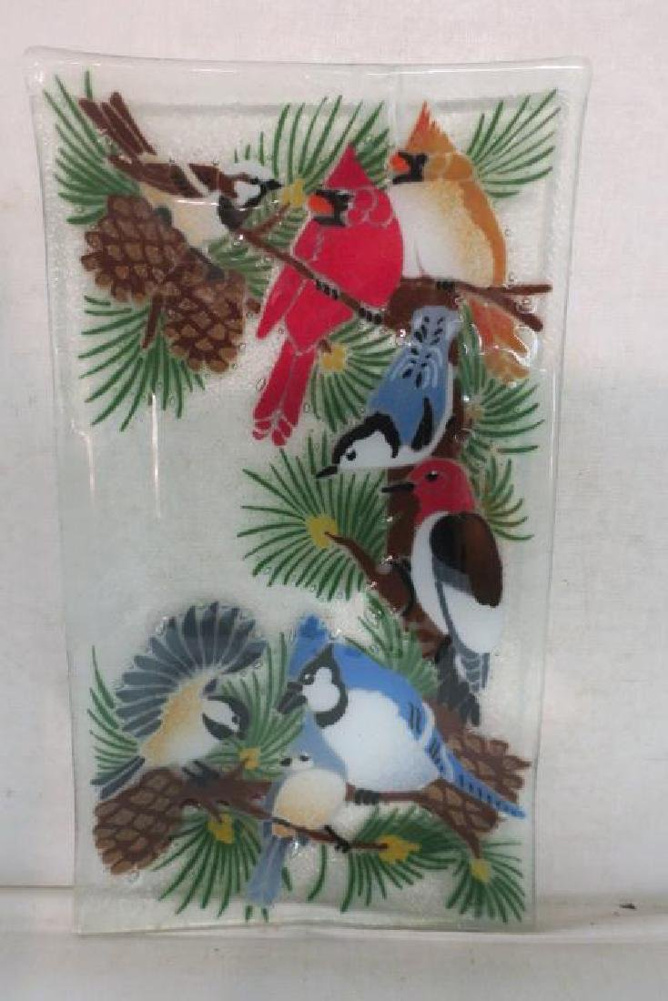 PEGGY KARR Fused Glass Bird Tray: