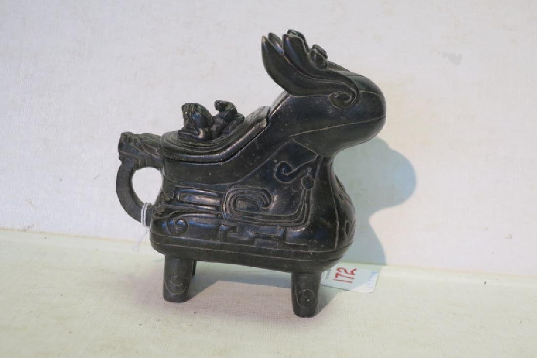 Two Bronze and Stone Censers: - 3