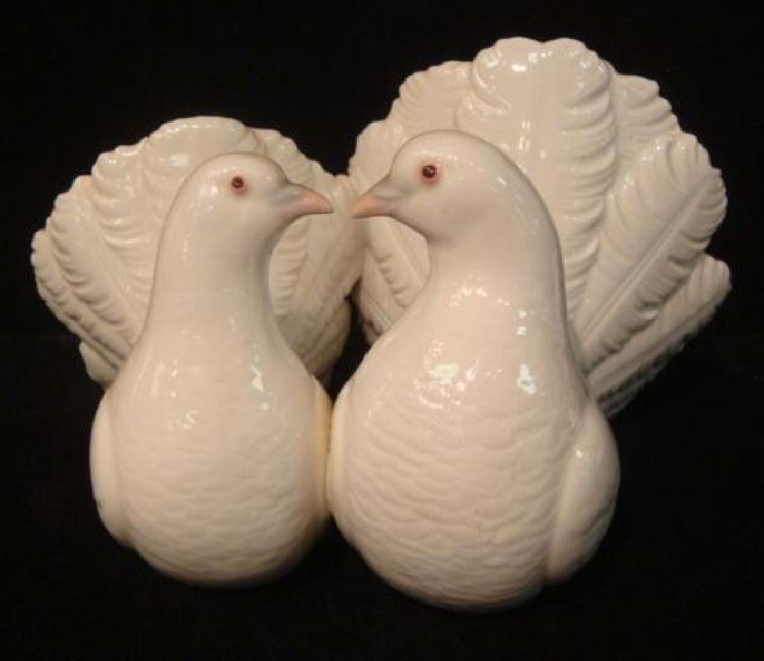 Two LLADRO Porcelain Dove Lovebirds: