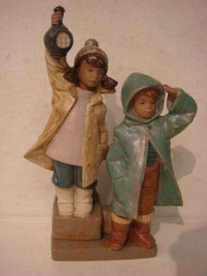 "LLADRO Gres Finish ""Ahoy There"" Boy and Girl Figures:"