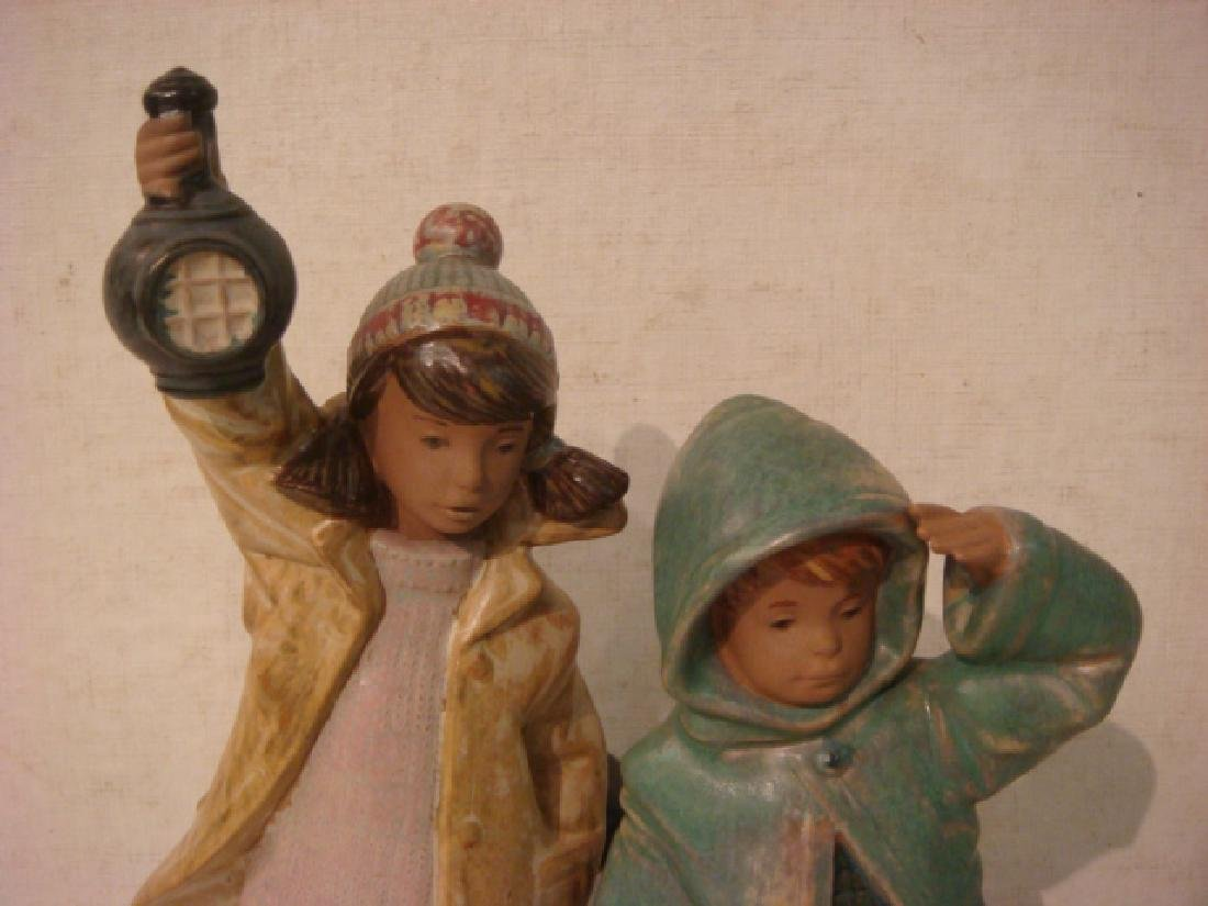 "LLADRO Gres Finish ""Ahoy There"" Boy and Girl Figures: - 2"