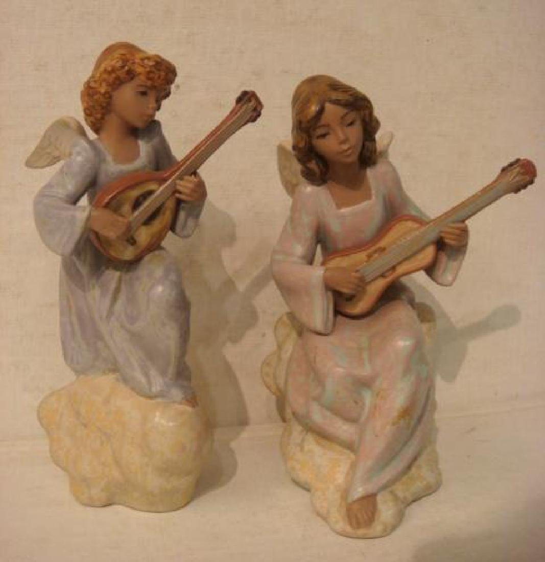 Two LLADRO Gres Angel Musician Figurines: