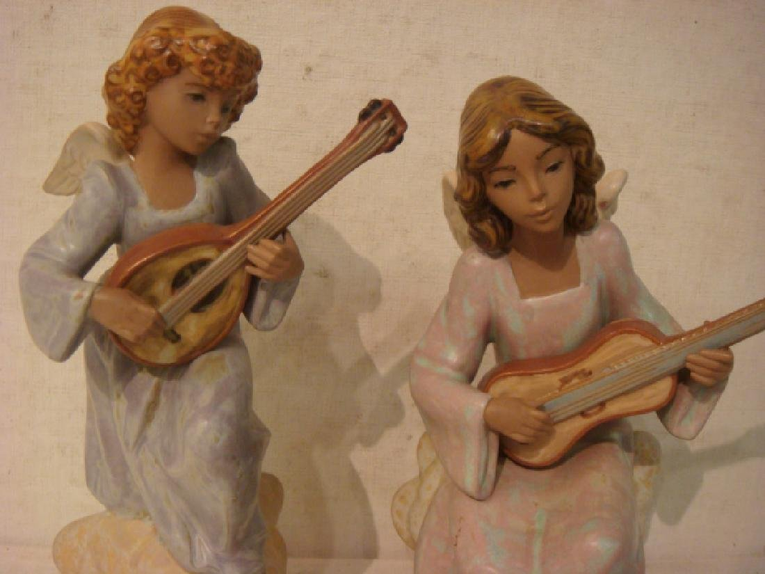 Two LLADRO Gres Angel Musician Figurines: - 2