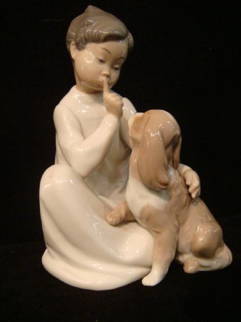 """LLADRO """"Boy with Dog"""" Figurine:"""