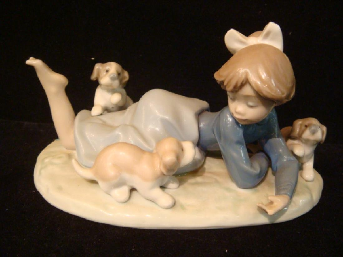 """LLADRO """"Playful Romp"""" Girl with Puppies:"""