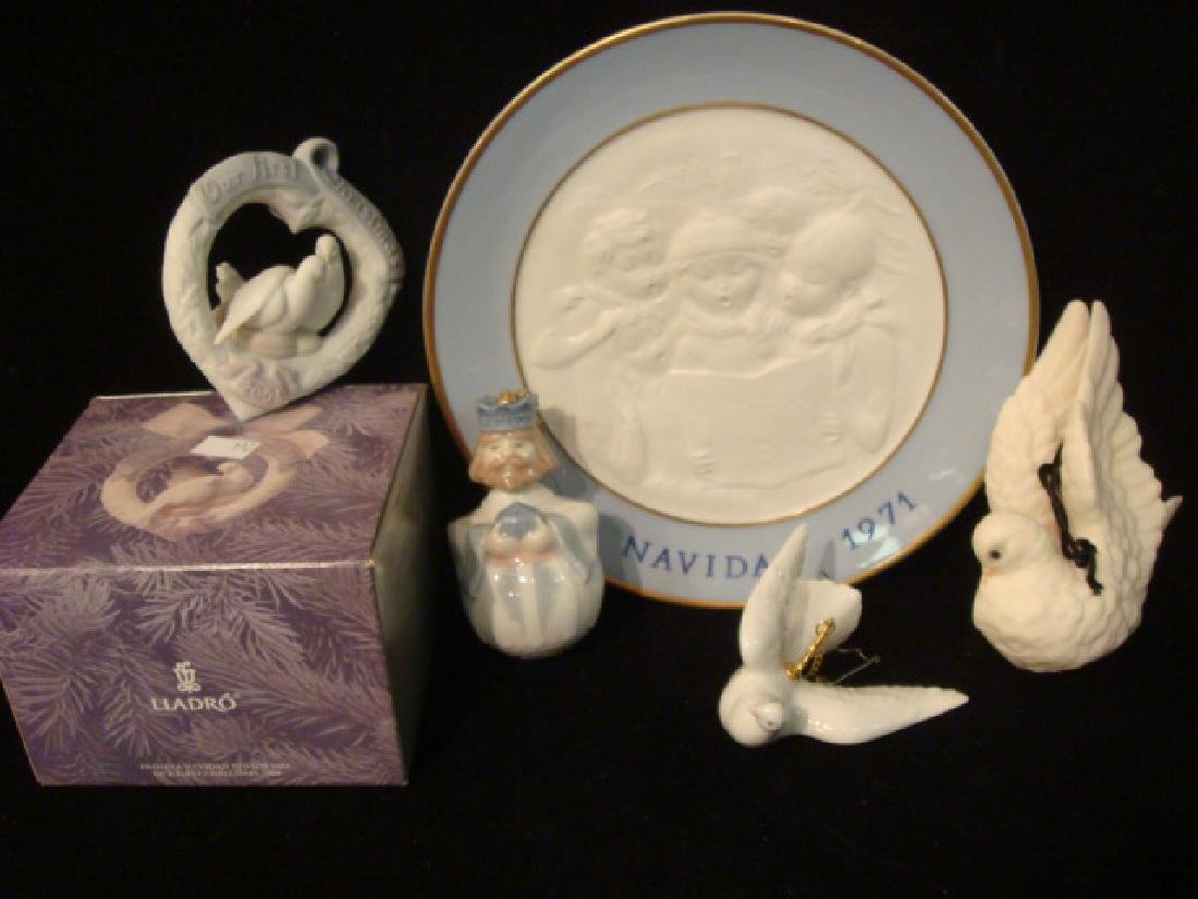 Five LLADRO and Cybis Christmas Ornaments and Plate: