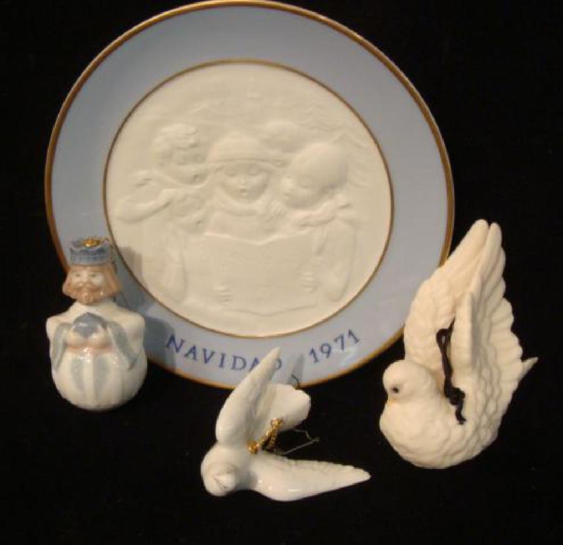 Five LLADRO and Cybis Christmas Ornaments and Plate: - 3