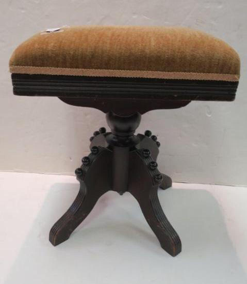 Eastlake Piano Bench with Velvet Seat: