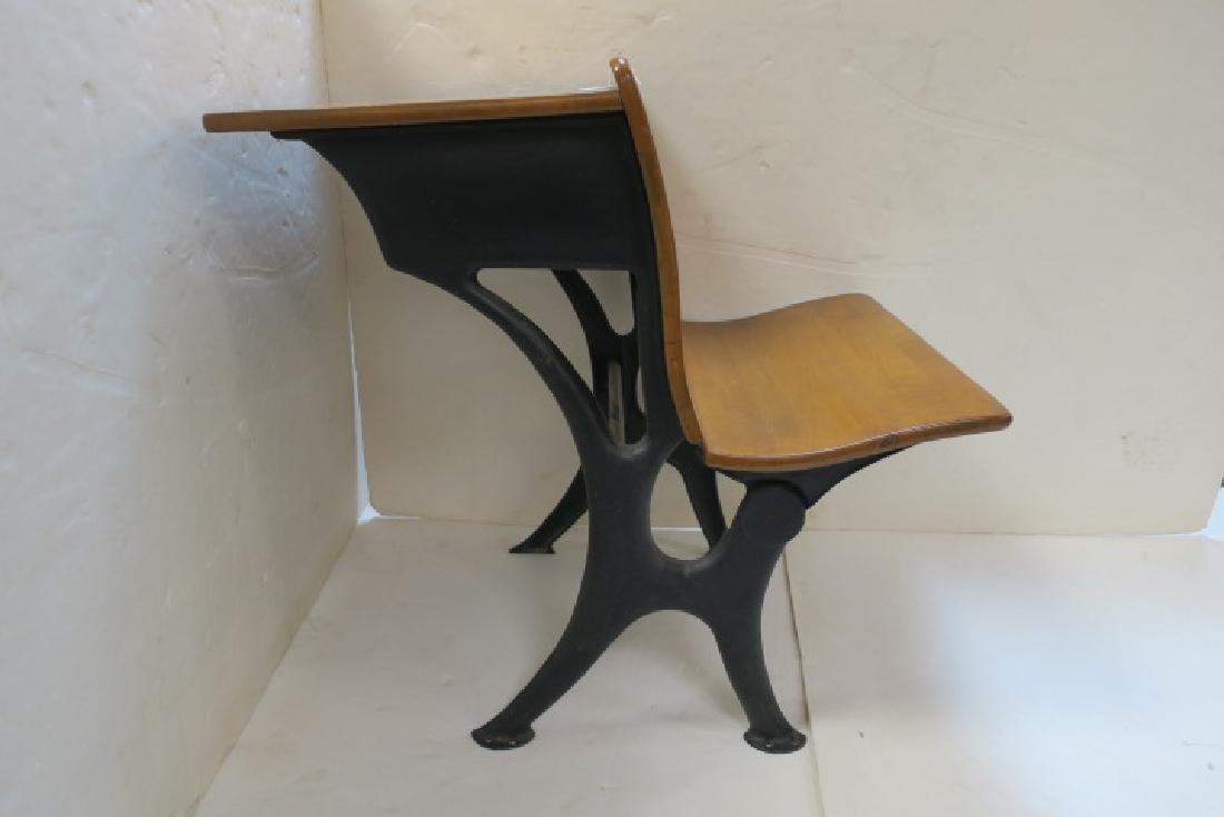 Childs Single Seat Vintage School Desk: - 2