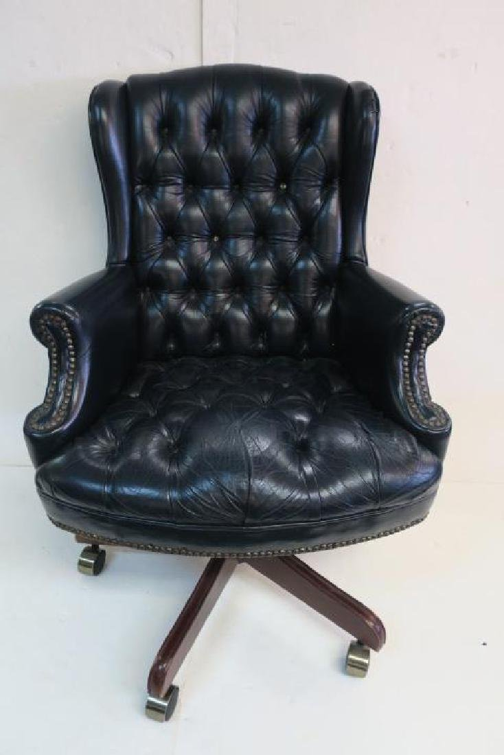 Black Vinyl Button Tufted Swivel Office Chair: