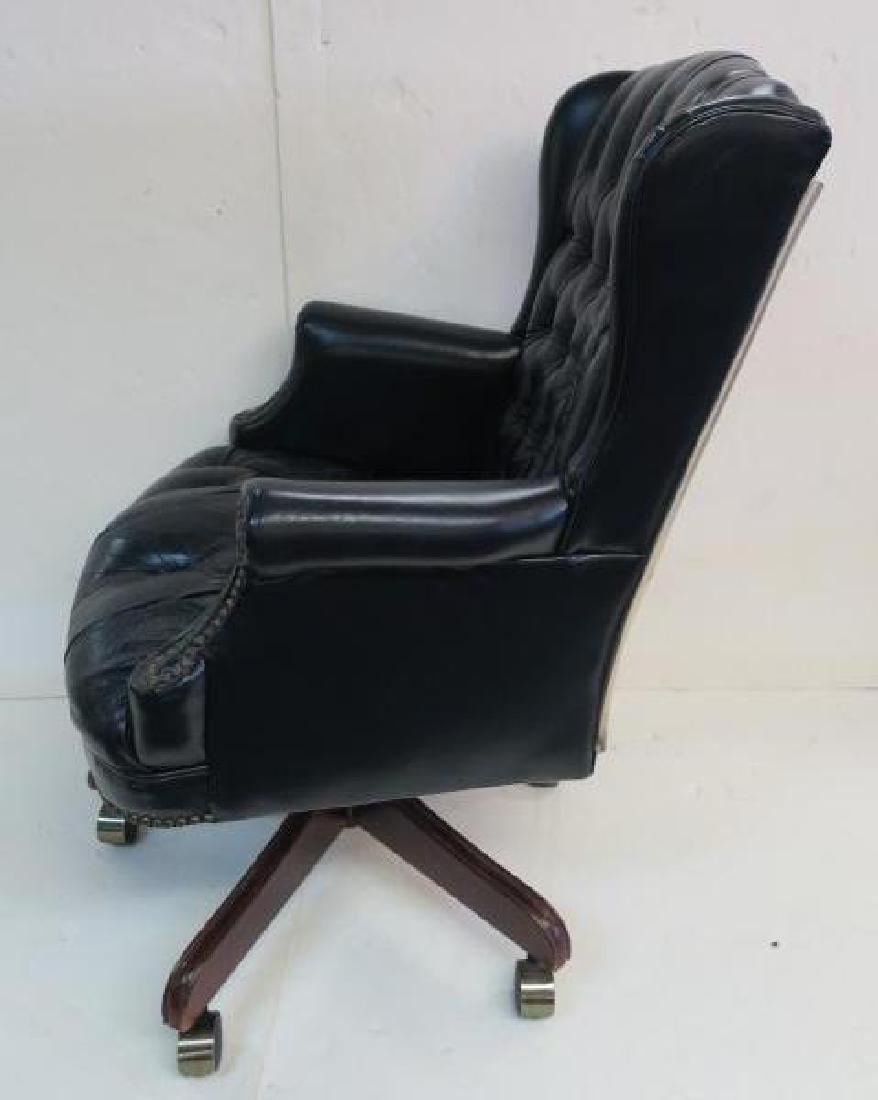Black Vinyl Button Tufted Swivel Office Chair: - 2