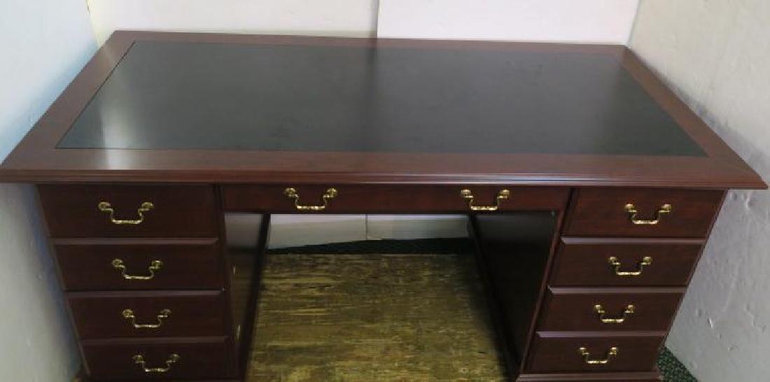 Six Drawer Cherry Finish Executive Desk: - 3