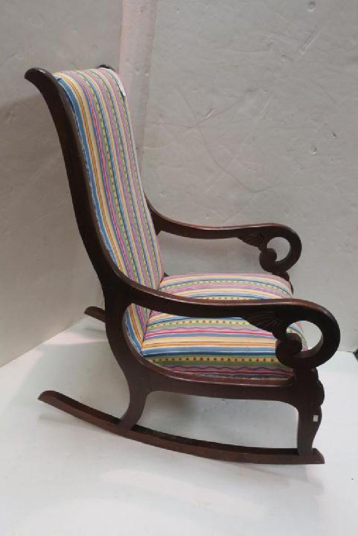Striped Upholstered Mahogany Framed Rocking Chair: