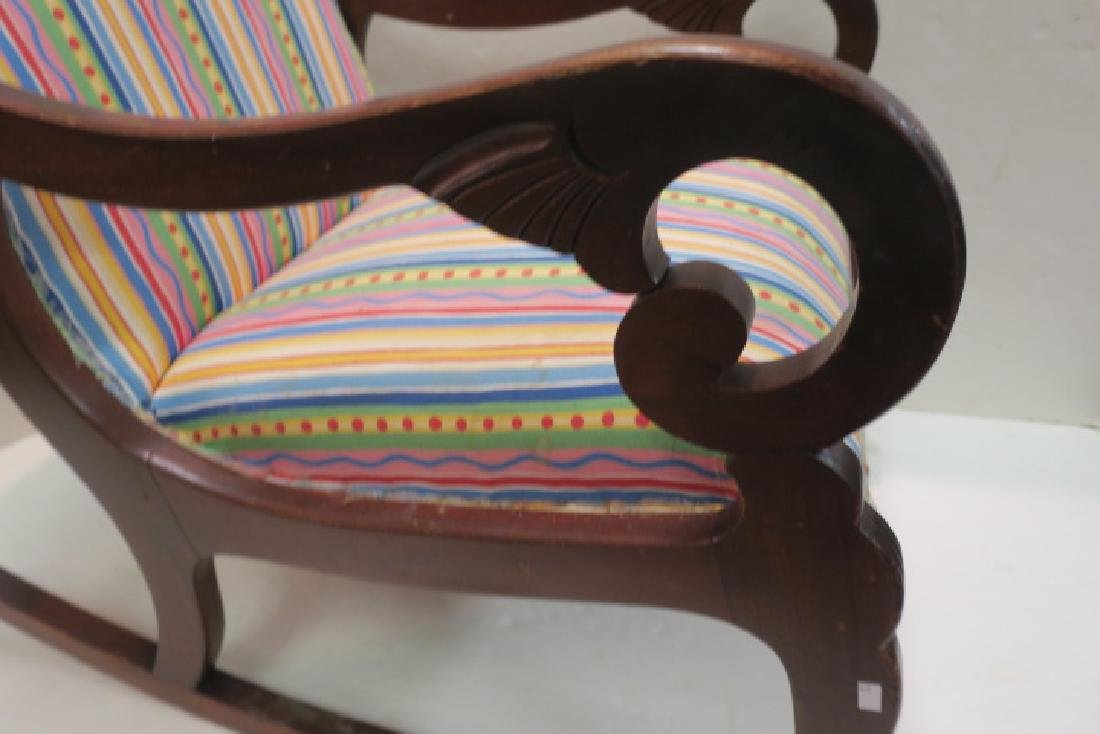 Striped Upholstered Mahogany Framed Rocking Chair: - 2