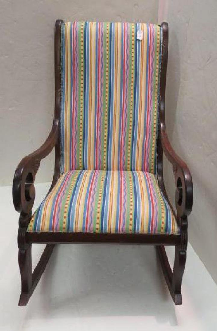Striped Upholstered Mahogany Framed Rocking Chair: - 3