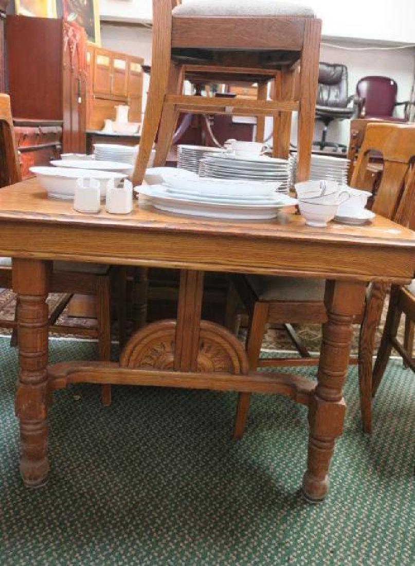 Golden Oak Table with Six Side Chairs, CA. 1900:
