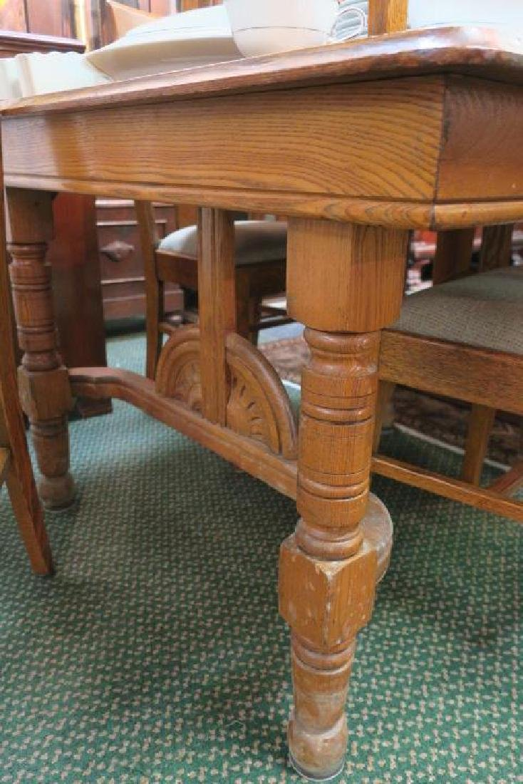 Golden Oak Table with Six Side Chairs, CA. 1900: - 3