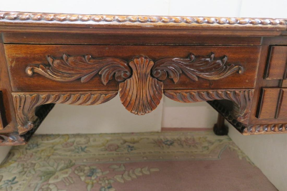 Mahogany Five Drawer Desk with Gadrooned Edge: - 2