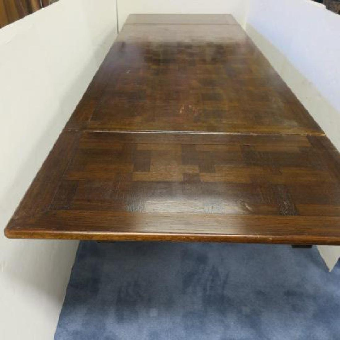 Impressive Dark Oak Trestle Table with Extensions: - 2