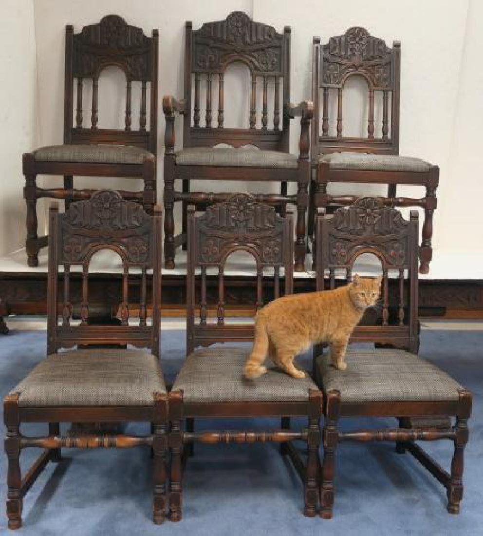Set of Six Jacobean Style Oak Dining Chairs: