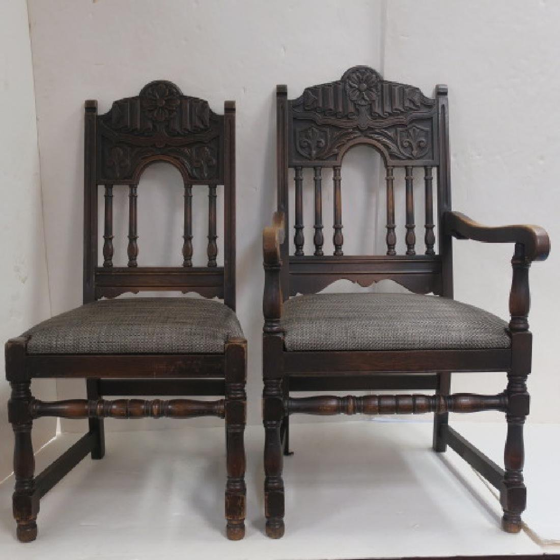 Set of Six Jacobean Style Oak Dining Chairs: - 2