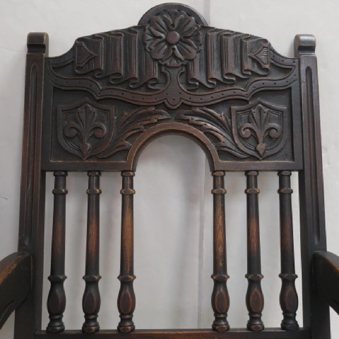 Set of Six Jacobean Style Oak Dining Chairs: - 3