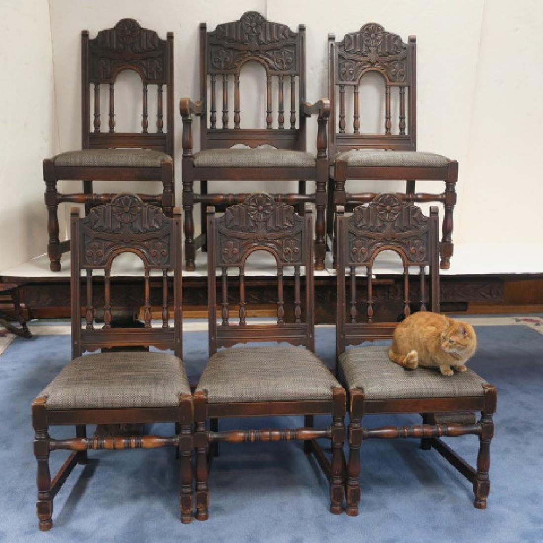 Set of Six Jacobean Style Oak Dining Chairs: - 4
