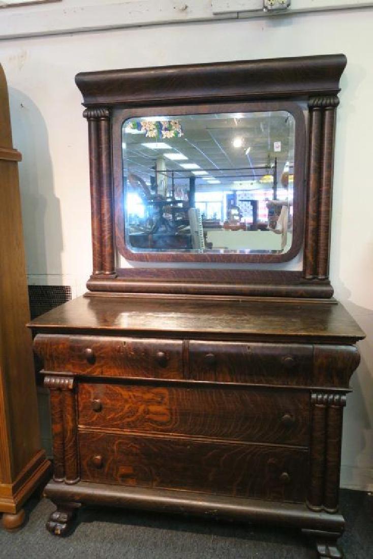 Dark Tiger Oak Empire Dresser with Mirror & Paw Feet: