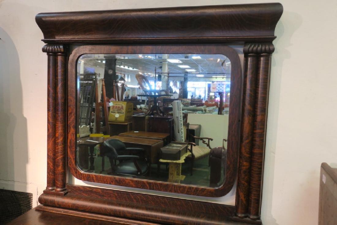 Dark Tiger Oak Empire Dresser with Mirror & Paw Feet: - 2