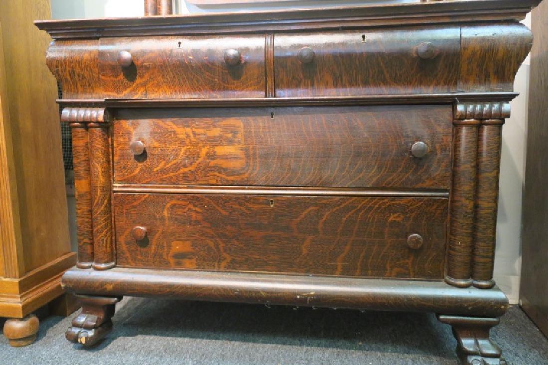 Dark Tiger Oak Empire Dresser with Mirror & Paw Feet: - 3