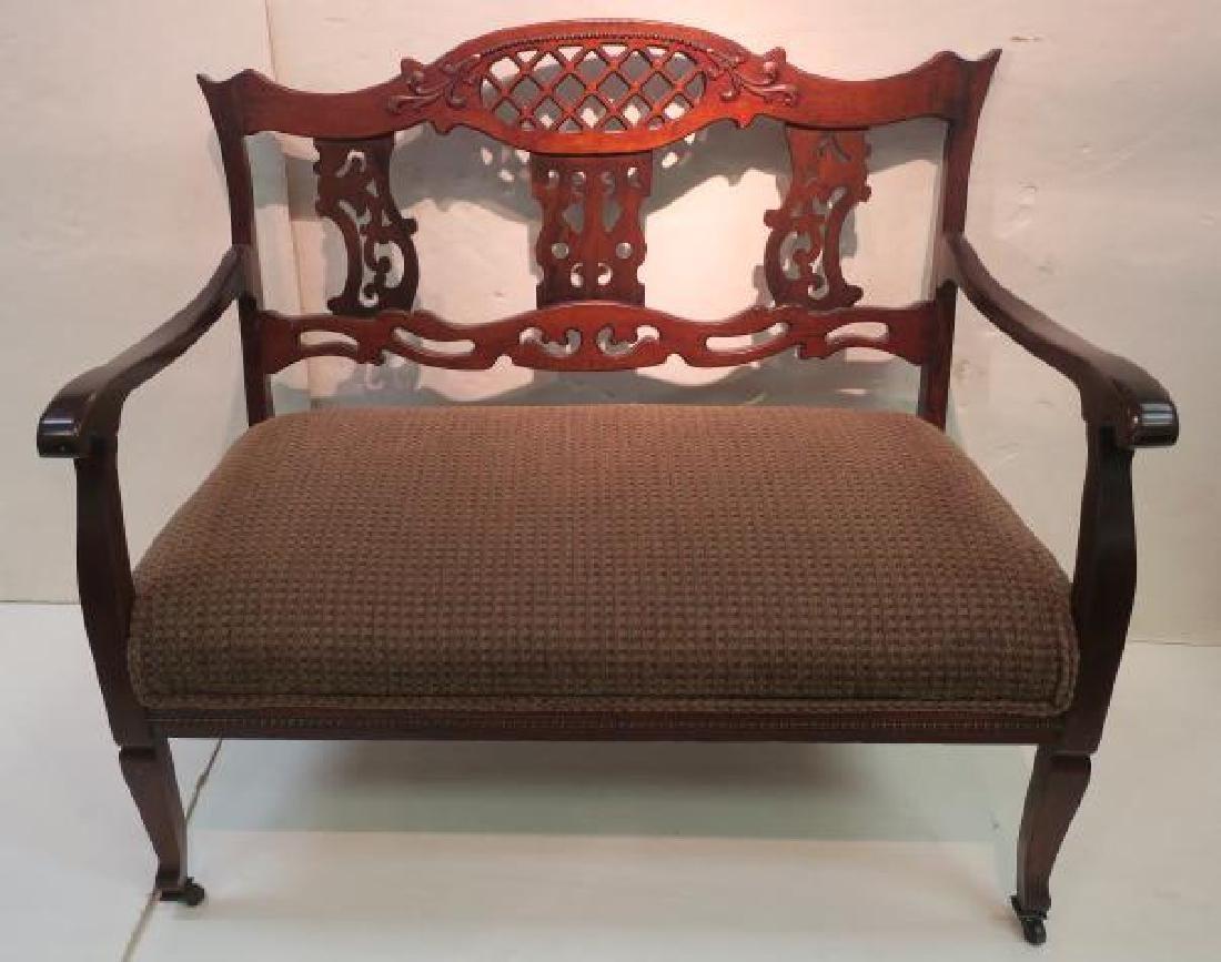 Upholstered Mahogany Frame Settee: