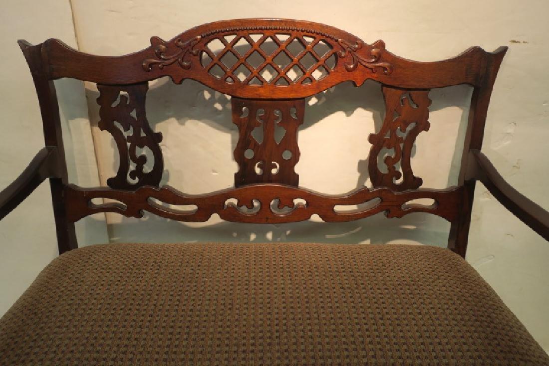 Upholstered Mahogany Frame Settee: - 2