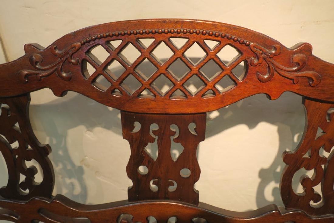 Upholstered Mahogany Frame Settee: - 3