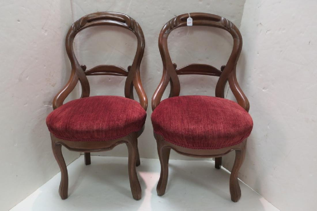 Pair of Open Balloon Back Side Chairs: