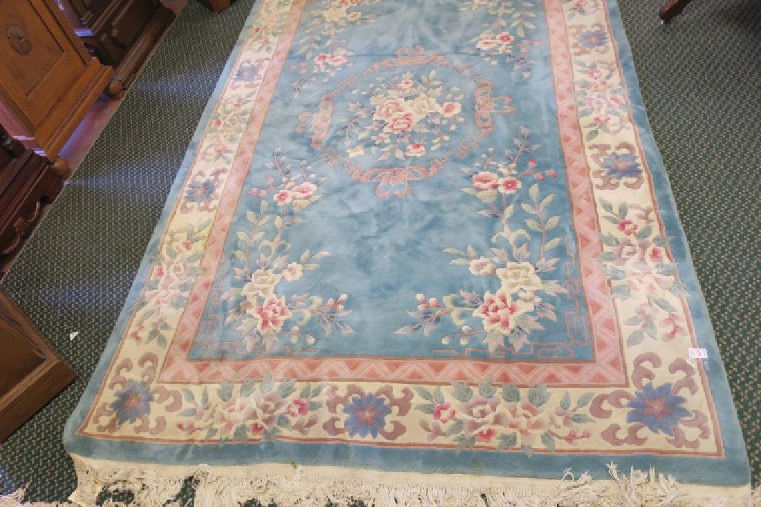 Blue Sculpted Chinese Floral Rug: