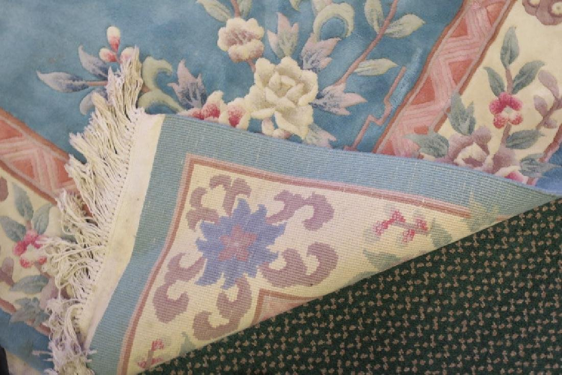 Blue Sculpted Chinese Floral Rug: - 2