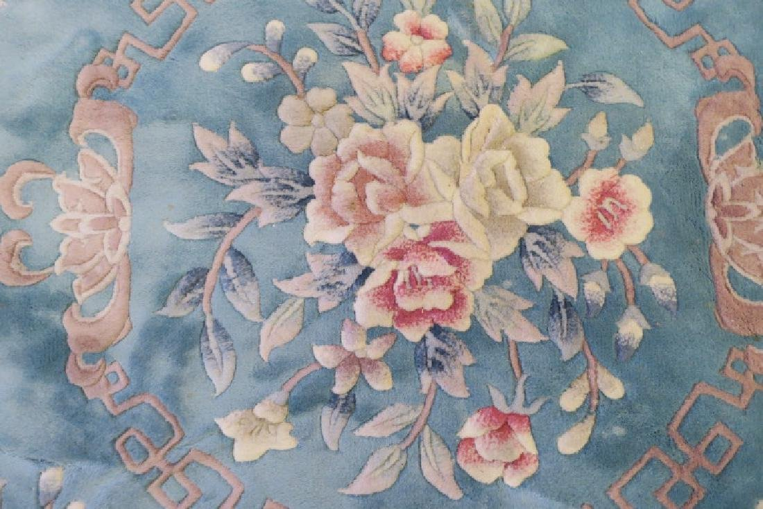 Blue Sculpted Chinese Floral Rug: - 3