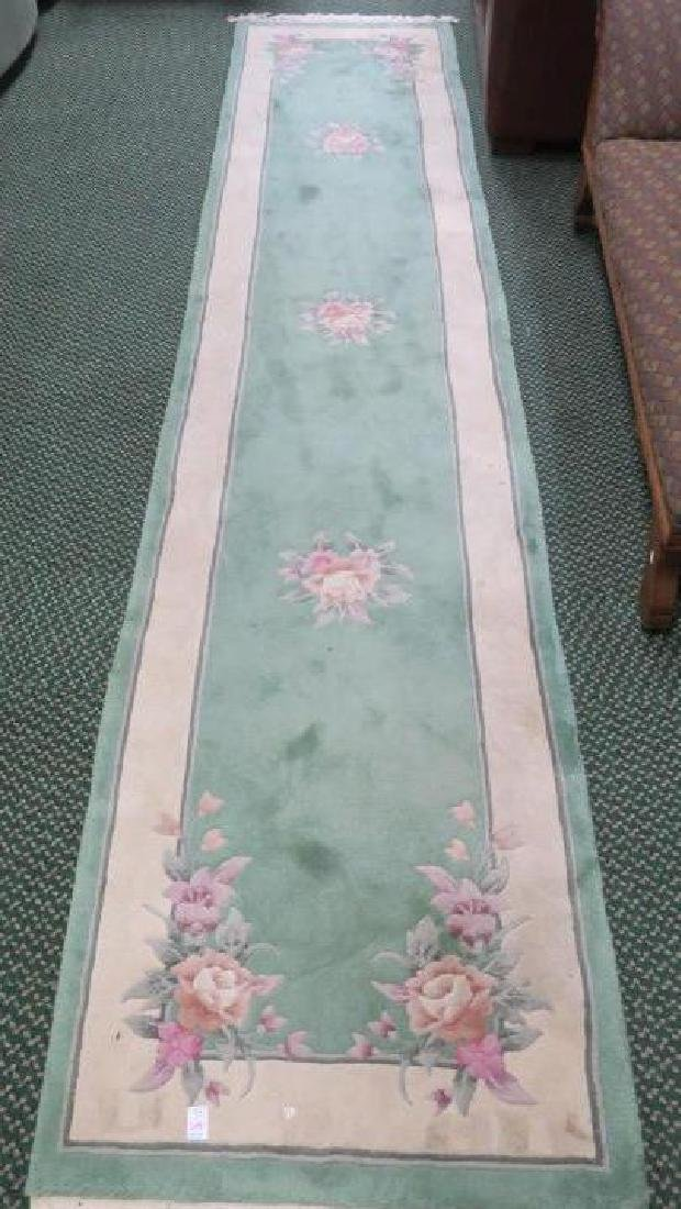Mint Green Chinese Floral Sculpted Wool Runner:
