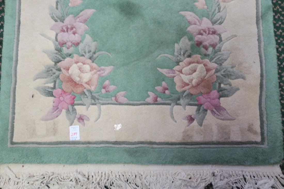 Mint Green Chinese Floral Sculpted Wool Runner: - 2
