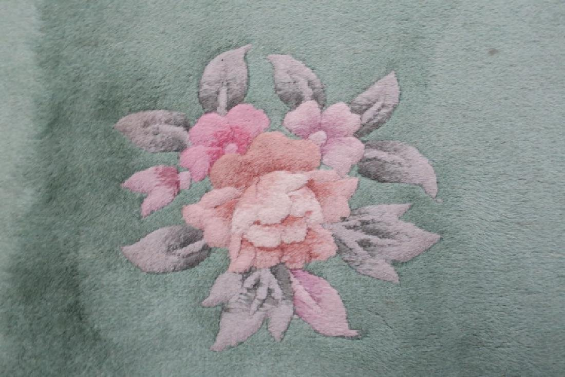Mint Green Chinese Floral Sculpted Wool Runner: - 3